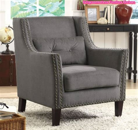 Grey Occasional Chair Design Ideas Grey Fabric Accent Chair With Nailhead Trims