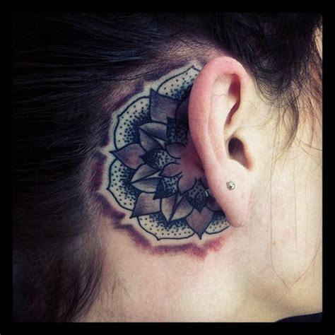dragon tattoo behind ear mandala flower tattoo behind ear