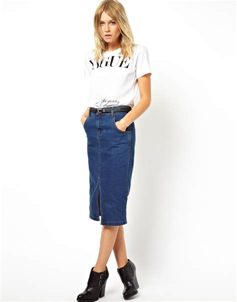 asos denim pencil skirt with split front where to buy