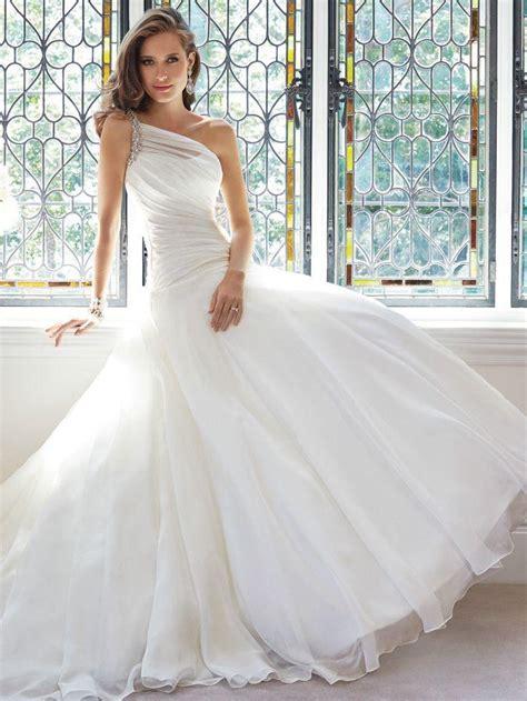 Wedding Dresses Size 12 One Shoulder Wedding Dress Pleated Bridal Gown Custom Size