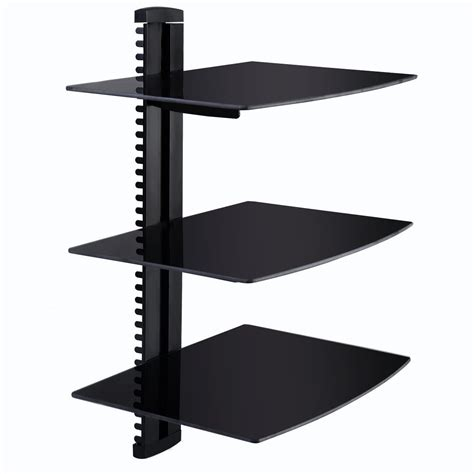 3 tier dual glass shelf wall mount bracket tv