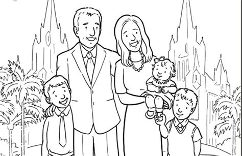 coloring page of family members activities for children