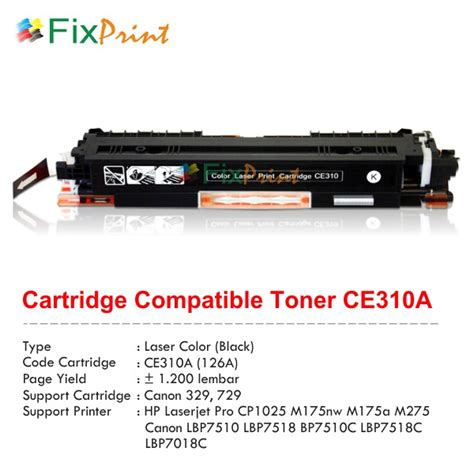 Printer Laser Seken jual cartridge toner compatible ce310a 126a 329 729 black printer hp laserjet pro cp1025