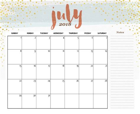 Printable Calendar Cute 2018 | cute july 2018 calendar printable happyeasterfrom com