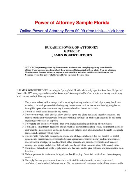 power of attorney sample florida