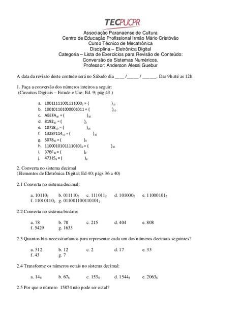 Lista de exercícios sistemas numéricos
