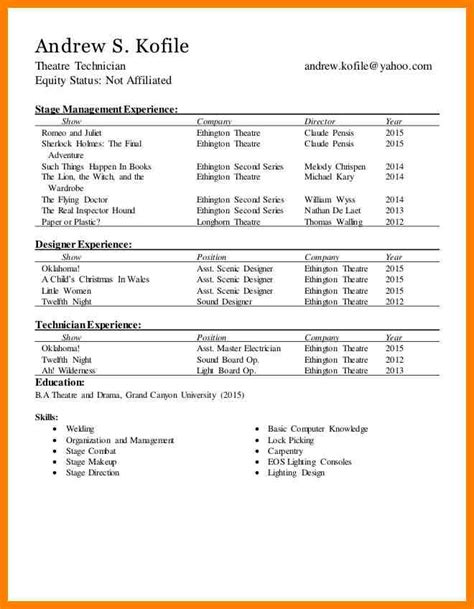 technical theater resume sle technical theatre resumes technical theatre resume the