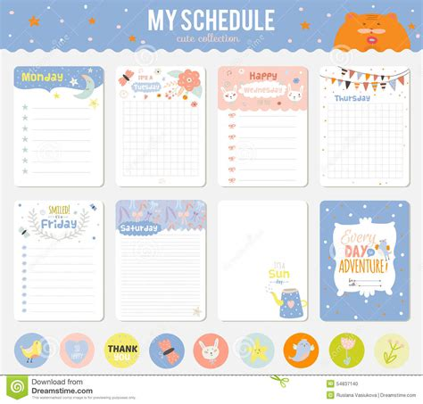 set of cards notes and stickers with cute stock vector