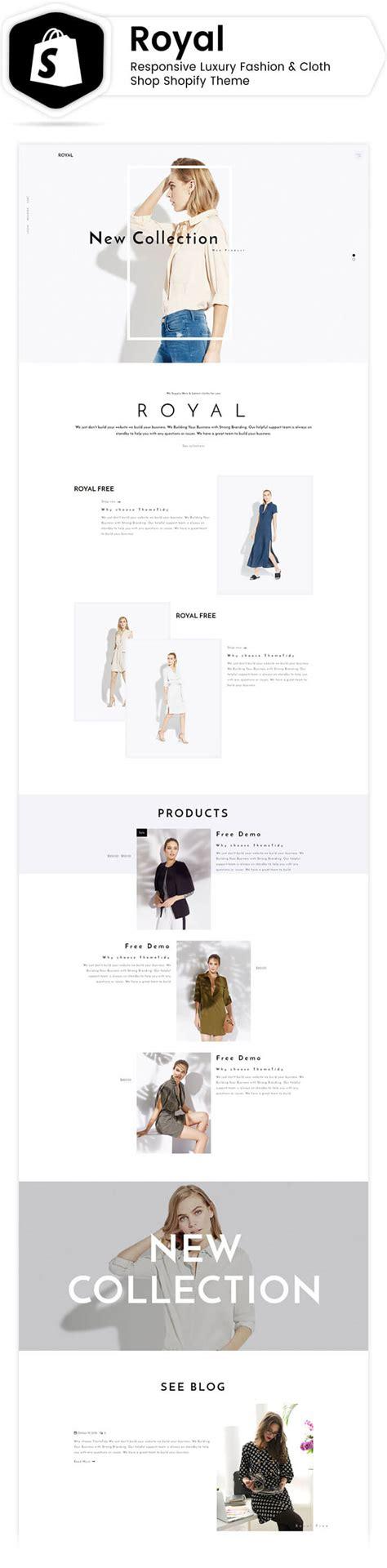 shopify themes luxury royal responsive luxury fashion cloth shop shopify theme