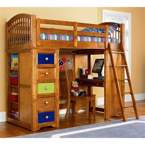 boys bunk bed with desk teenage boys brown wooden loft bunk bed with study
