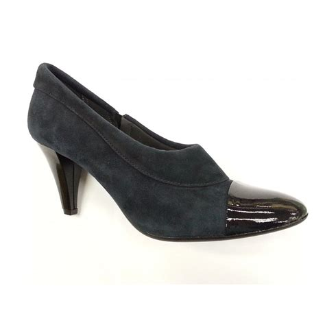 9962 navy suede shoe boot with patent toe