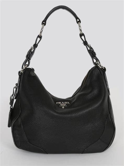 Prada Crispy Hobo Handbag by Prada Vitello Daino Hobo Bag Nero Luxury Bags