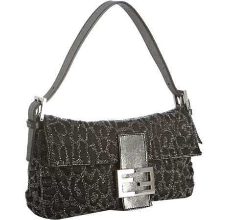 The Fendi Evening Bag by Fendi Silver Beaded Leopard Baguette Evening Bag In Silver