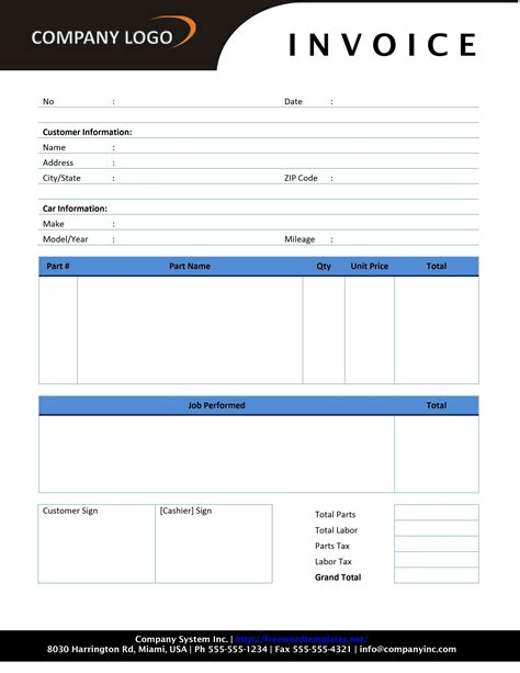 printable auto invoice auto repair template free printable documents