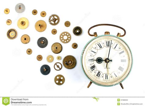 alarm clock with it s inner parts stock photography image 37086632