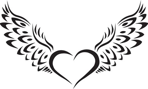 heart with wings clipart black and white for silhouette
