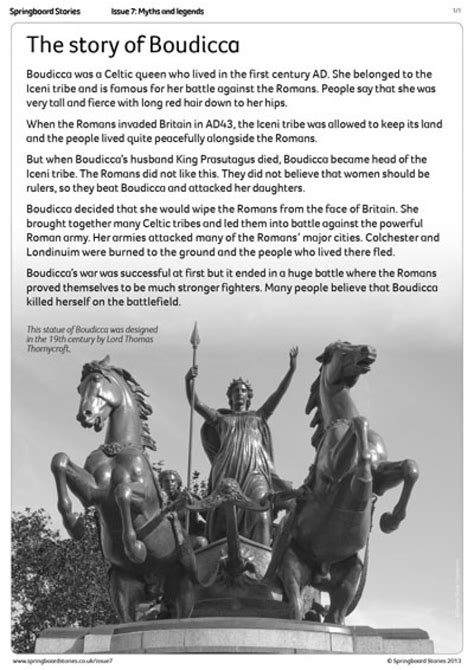 Springboard Stories The Story Of Boudicca