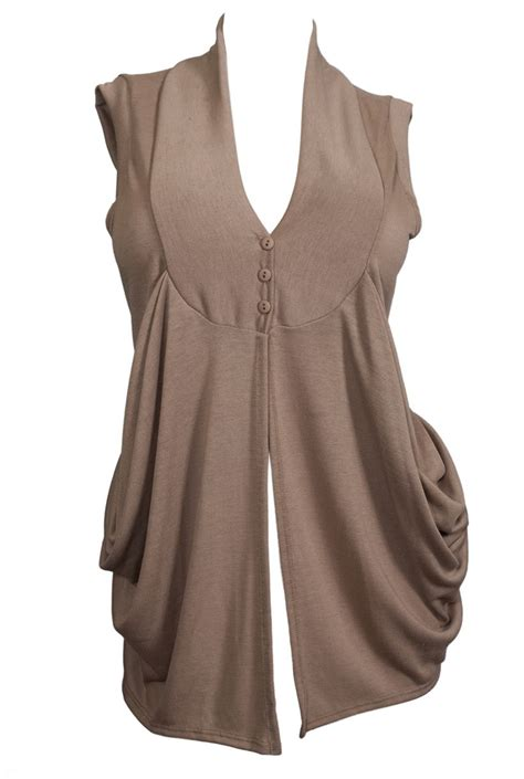 sleeveless draped cardigan plus size sleeveless draped cardigan brown evogues apparel