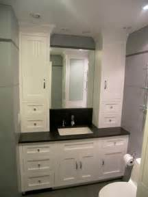 Custom Vanity Counter Made Bathroom Vanity And Linen Cabinet By Edko