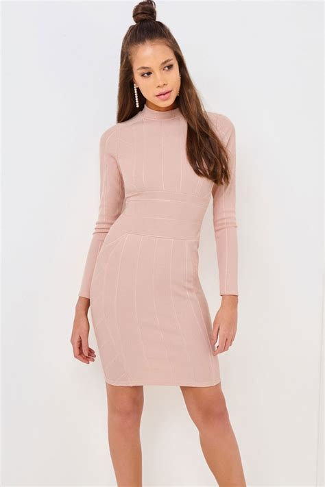 Hi Nek Dres Premium Gil outlet on pink high neck bodycon dress outlet on from uk