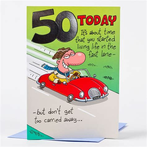 50th Birthday Cards 50th Birthday Card Red Convertible Only 59p