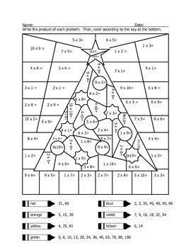 christmas tree math coloring page christmas tree multiplication coloring sheet