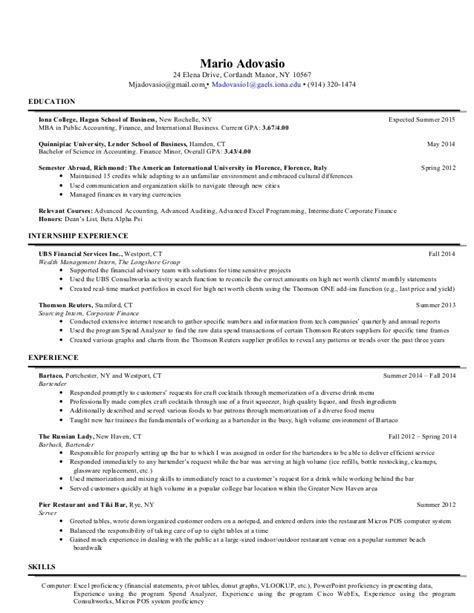 Bar Steward Sle Resume by Mario Adovasio Updated Post Grad Resume