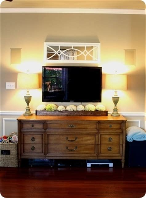 tv mounted on wall in bedroom tv mounted on wall above a console home ideas pinterest