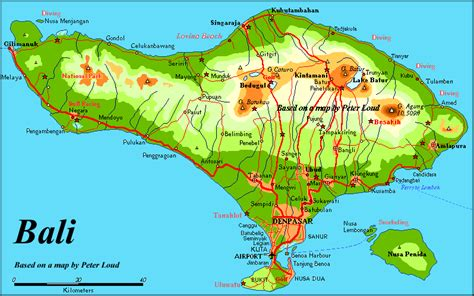 map of bali bali indonesia