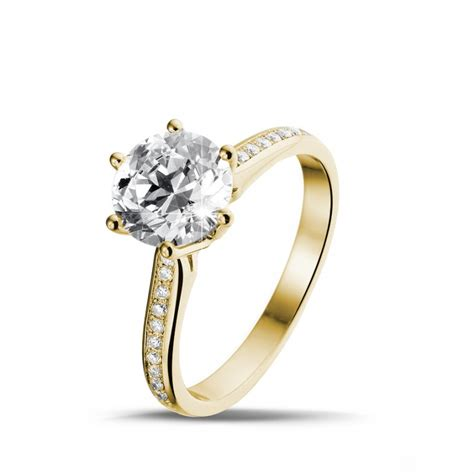yellow gold engagement rings 2 00 carat baunat