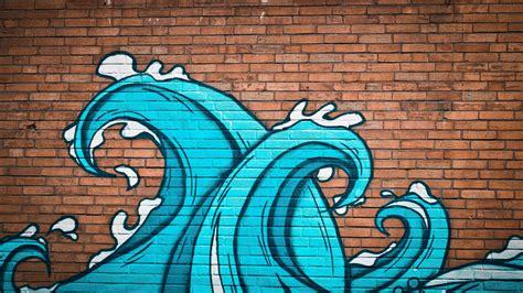 wallpaper graffiti waves  brick wall