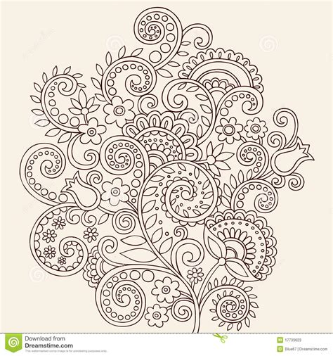 henna mehndi paisley doodle vines and flowers stock vector