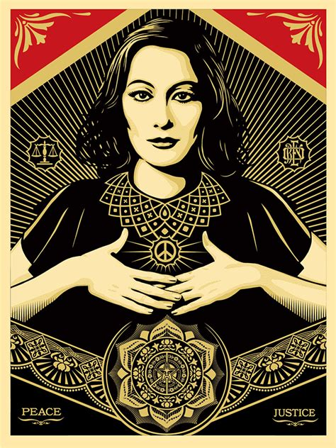 shepard fairey peace goddess print peace justice obey