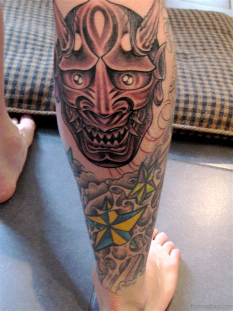hannya mask tattoo 40 impressive mask tattoos for leg