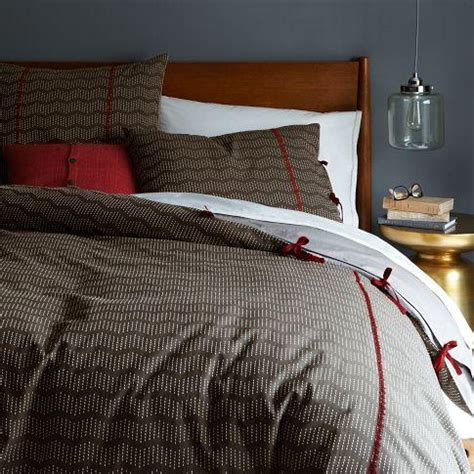 brown patterned duvet rivulet stripe duvet cover shams west elm
