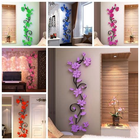 diy wall stickers 3d vase flower tree diy removable vinyl wall stickers
