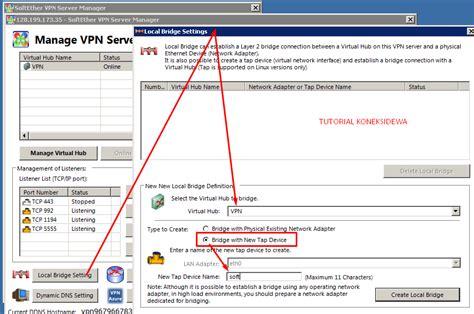 membuat vpn di ubuntu server setting localbridge softher vpn