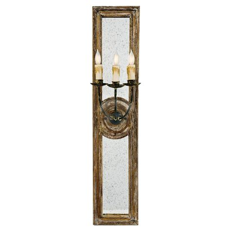 Antique Mirror Sconce barrucio country wood antique mirror 3 arm sconce 40h kathy kuo home