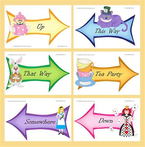 printable templates bright alice large signs alice in