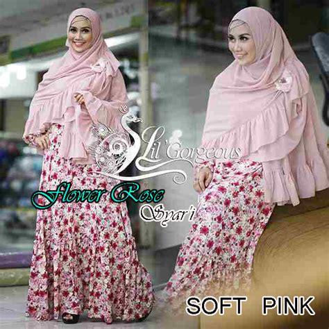 Syahla Mint flower soft pink baju muslim gamis modern