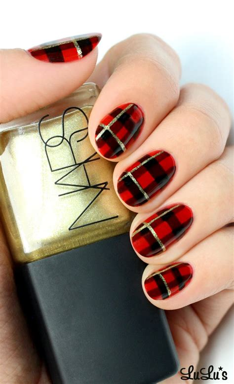 nail art checkered tutorial red check style nail art design trends for girls womens