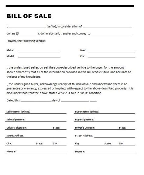 bill of sale template free word templates