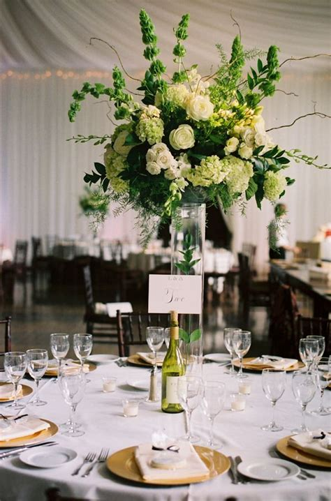 Tall White And Green Wedding Centerpiece And White Centerpieces For Wedding
