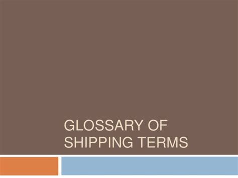 terms of shipping glossary of shipping terms