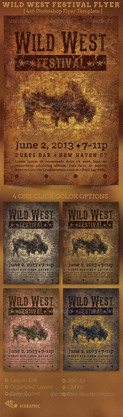 wild west festival flyer template graphicriver