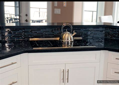 Black Glass Countertops by Tile Backsplash With Black Cuntertop Ideas White Cabinet