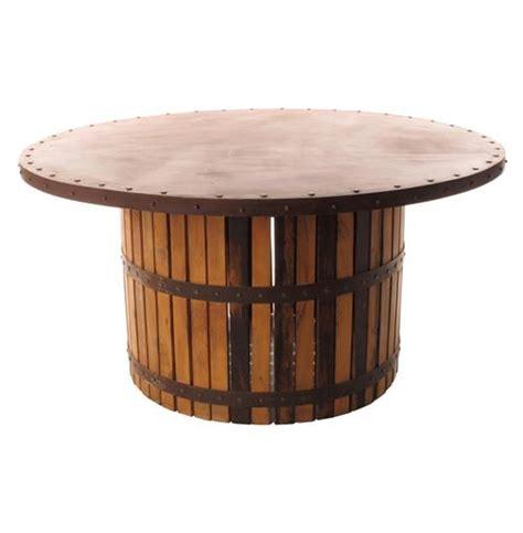wood barrel table sonoma vintage copper iron wood barrel dining table ebay