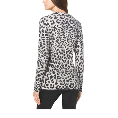 Leopard Print Pullover lyst michael kors leopard print angora blend sweater