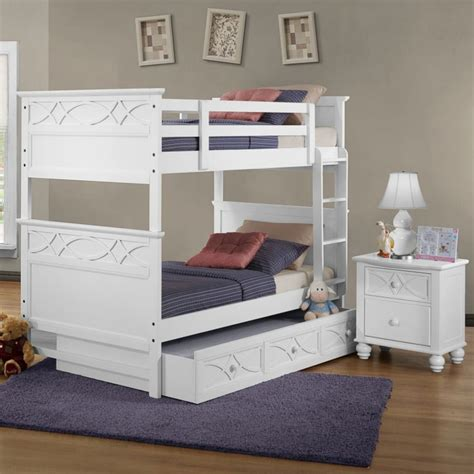 homelegance sanibel 2 bunk bed bedroom set in white beyond stores