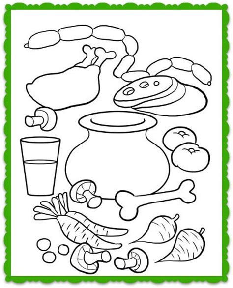 stone soup coloring worksheet and song for kids flannel